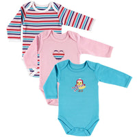 Hudson Baby Cotton Long-Sleeve Bodysuits, Bird 3-Pack