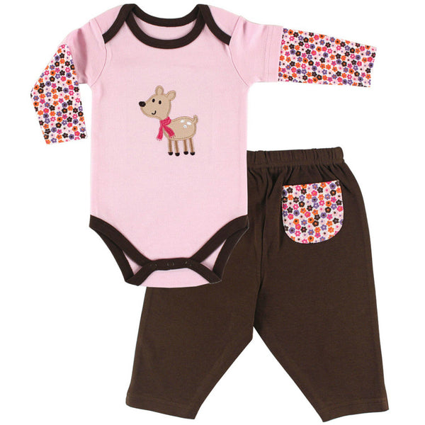 Hudson Baby Cotton Bodysuit and Pant Set, Deer