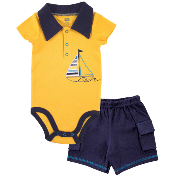 Hudson Baby Cotton Bodysuit and Pant Set, Sailboat