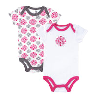 Yoga Sprout Cotton Bodysuits, Pink Medallion