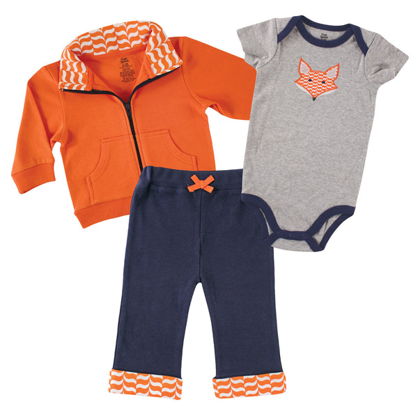 Yoga Sprout Cotton Hoodie, Bodysuit or Tee Top, and Pant, Fox Baby