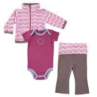 Yoga Sprout Cotton Hoodie, Bodysuit or Tee Top, and Pant, Lotus Baby