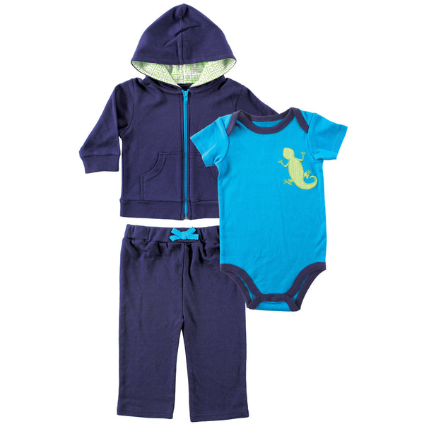 Yoga Sprout Cotton Hoodie, Bodysuit or Tee Top, and Pant, Lizard Baby