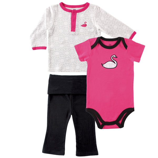Yoga Sprout Cotton Layette Set, Swan