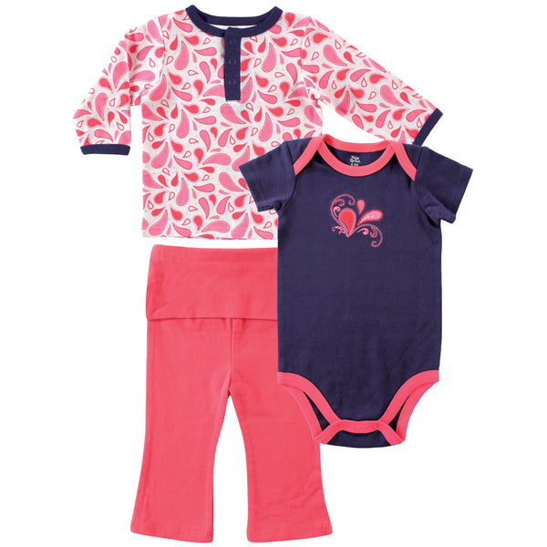 Yoga Sprout Cotton Layette Set, Paisley