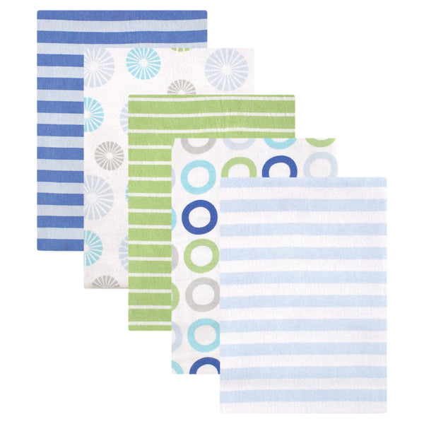 Luvable Friends Cotton Flannel Receiving Blankets, Blue Pinwheel