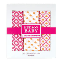 Hudson Baby Cotton Muslin Swaddle Blankets, Pink Dots