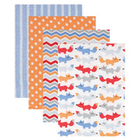 Hudson Baby Cotton Flannel Receiving Blankets, Blue