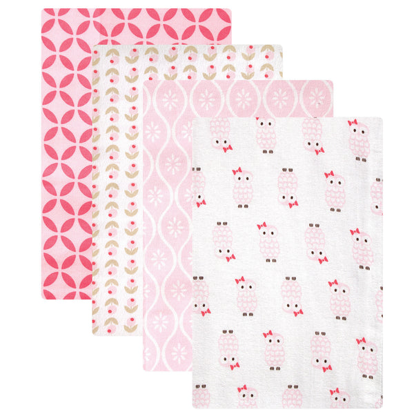 Hudson Baby Cotton Flannel Receiving Blankets, Pink Owls