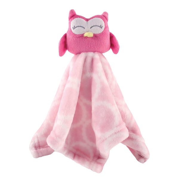Hudson Baby Animal Face Security Blanket, Pink Owl