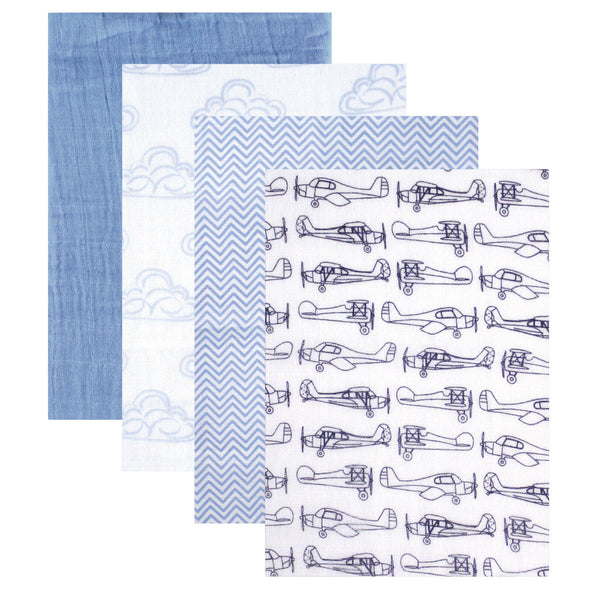 Hudson Baby Cotton Muslin Swaddle Blankets, Blue Airplane