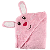 Luvable Friends Cotton Animal Face Hooded Towel, Bunny