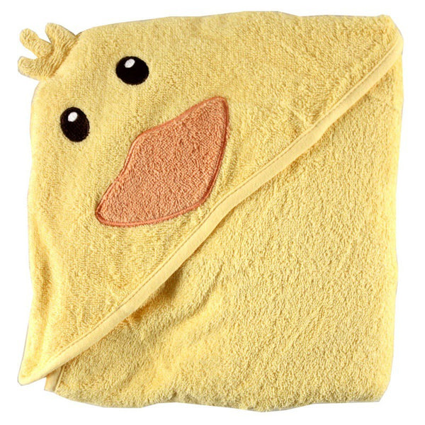 Luvable Friends Cotton Animal Face Hooded Towel, Duck