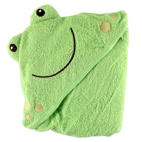 Luvable Friends Cotton Animal Face Hooded Towel, Frog