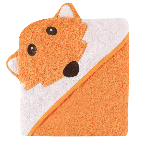 Luvable Friends Cotton Animal Face Hooded Towel, Fox