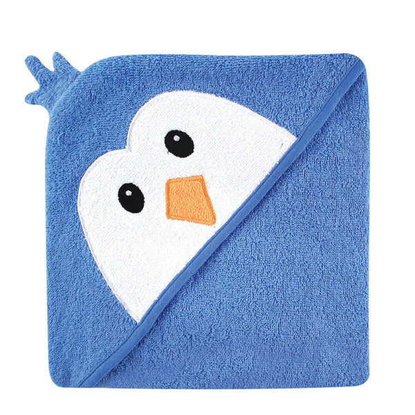 Luvable Friends Cotton Animal Face Hooded Towel, Blue Penguin