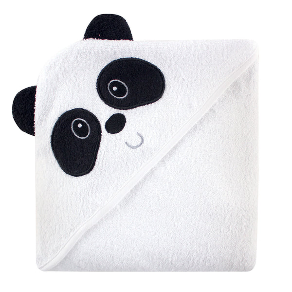 Luvable Friends Cotton Animal Face Hooded Towel, Panda