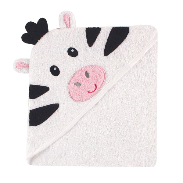 Luvable Friends Cotton Animal Face Hooded Towel, Zebra