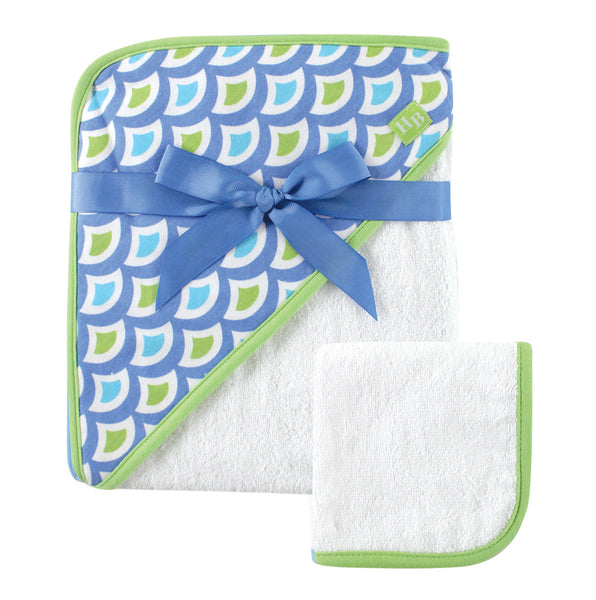 Hudson Baby Cotton Hooded Towel and Washcloth, Green Wave