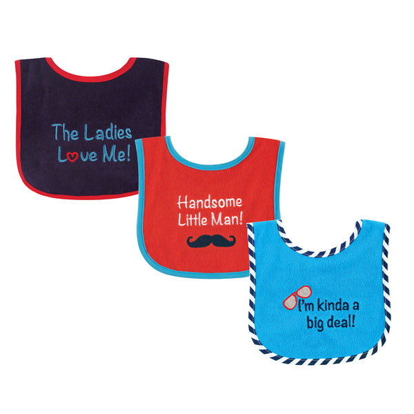 Luvable Friends Cotton Terry Drooler Bibs with PEVA Back, Handsome