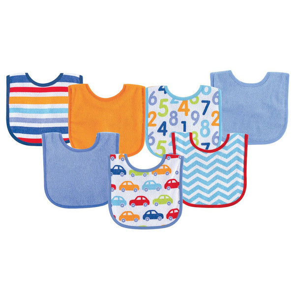 Luvable Friends Cotton Terry Drooler Bibs with PEVA Back, Blue Car