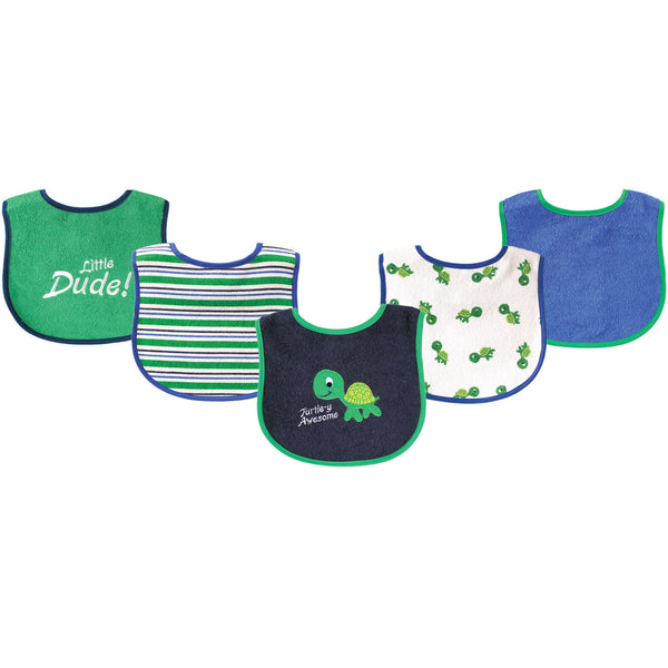 Luvable Friends Cotton Terry Drooler Bibs with PEVA Back, Turtle