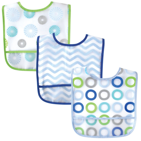 Luvable Friends Waterproof PEVA Bibs, Blue Circle
