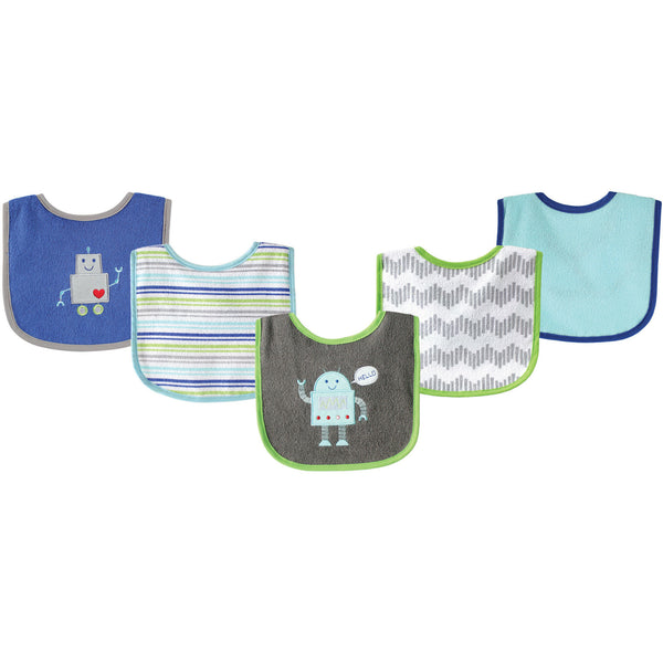 Luvable Friends Cotton Terry Drooler Bibs with PEVA Back, Robot