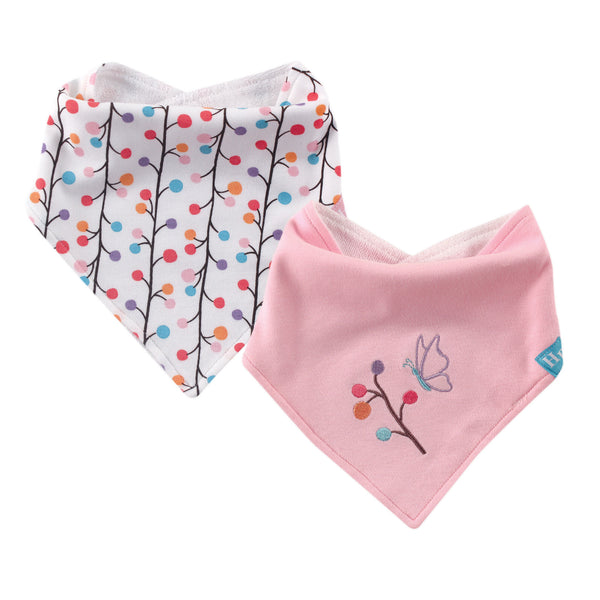 Hudson Baby Cotton Bandana Bibs, Budding Branches 2-Pack