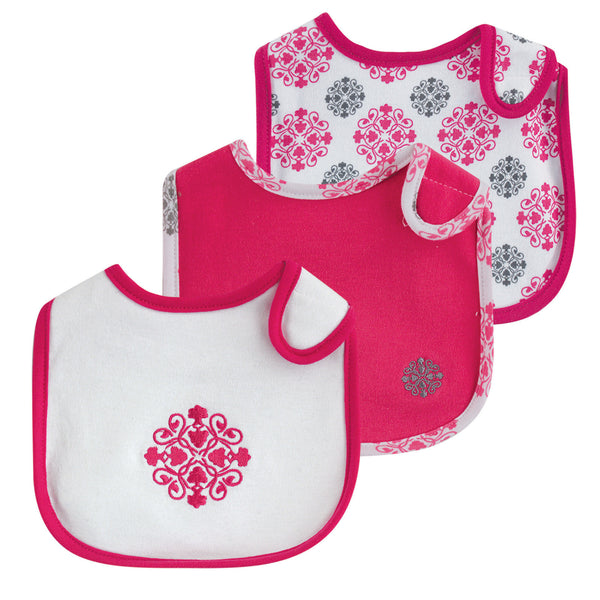 Yoga Sprout Cotton Bibs, Pink Medallion
