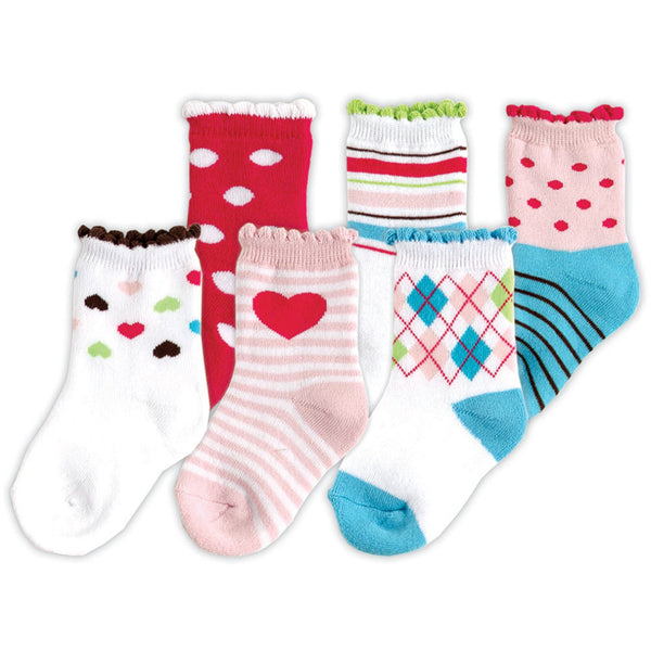 Luvable Friends Newborn and Baby Socks Set, Pink Girl