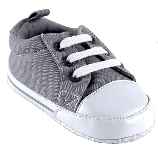 Luvable Friends Crib Shoes, Gray Canvas