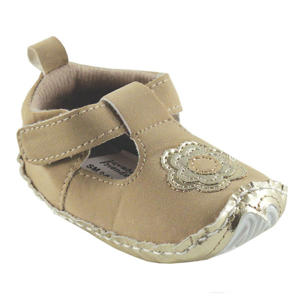 Luvable Friends Crib Shoes, Tan Mary Jane