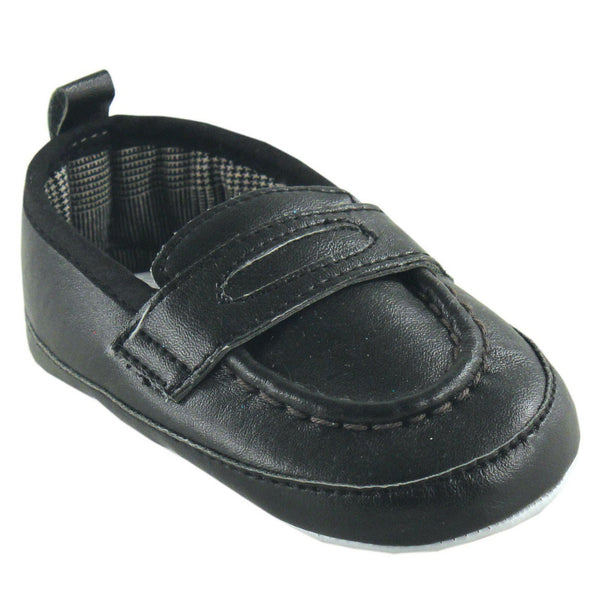 Luvable Friends Crib Shoes, Black Slip On