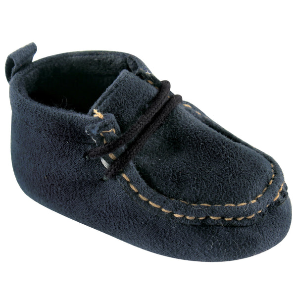Luvable Friends Crib Shoes, Navy Wallabee