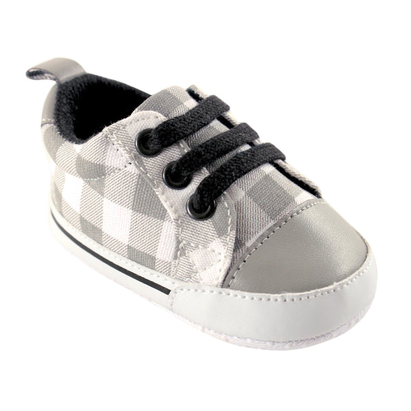 Luvable Friends Crib Shoes, Gray Plaid