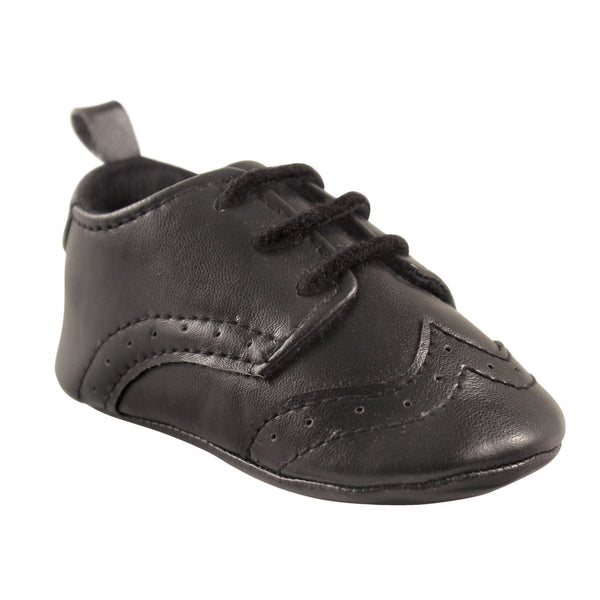 Luvable Friends Crib Shoes, Black Wingtip