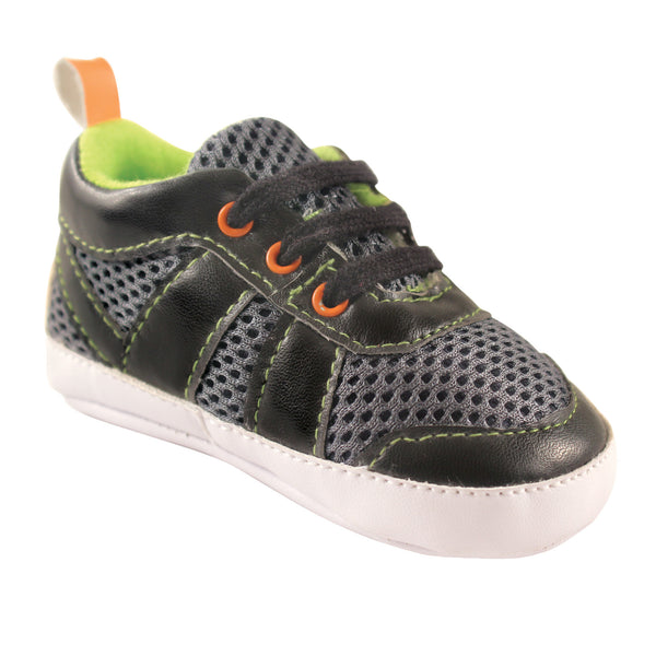 Luvable Friends Crib Shoes, Black Lime