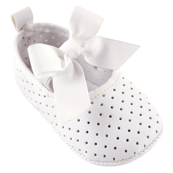 Luvable Friends Crib Shoes, White Mary Jane