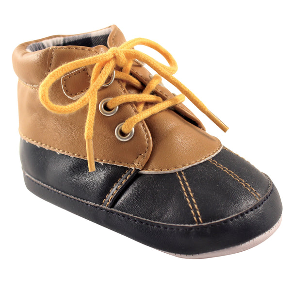 Luvable Friends Crib Shoes, Tan Navy