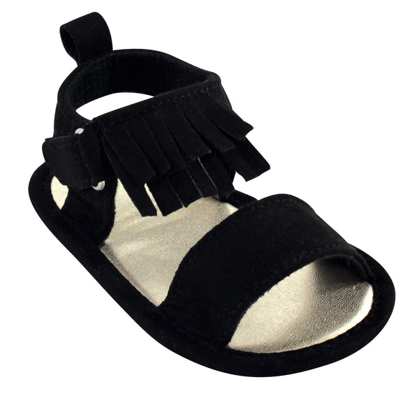 Luvable Friends Crib Shoes, Black Fringe Sandal