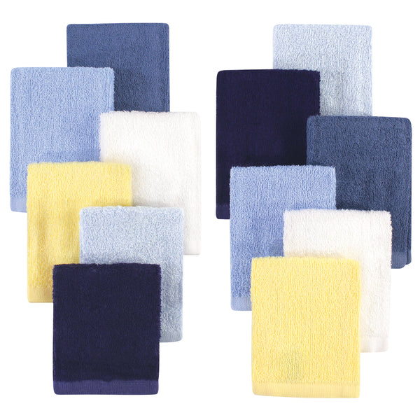 Hudson Baby Rayon from Bamboo Woven Washcloths 12pk, Blue Yellow, One Size