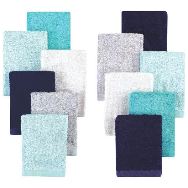 Hudson Baby Rayon from Bamboo Woven Washcloths 12pk, Navy Teal, One Size