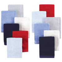 Hudson Baby Rayon from Bamboo Woven Washcloths 12pk, Blue Red, One Size