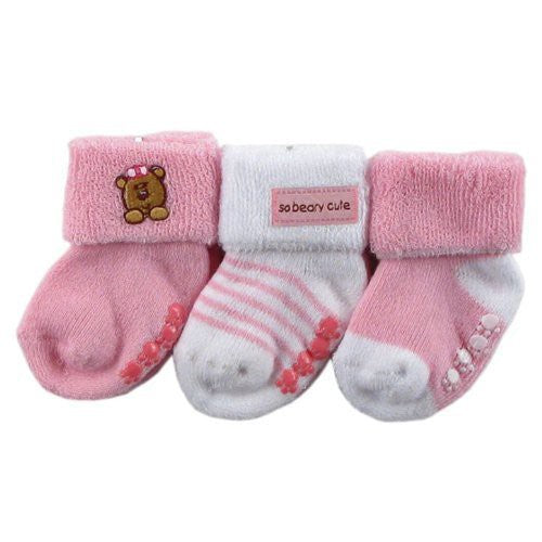 Luvable Friends Socks Set, Pink Bear