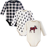 Hudson Baby Cotton Long-Sleeve Bodysuits, Moose 3-Pack