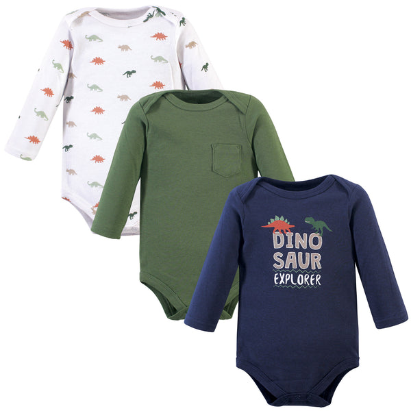 Hudson Baby Cotton Long-Sleeve Bodysuits, Dinosaur Explorer 3-Pack