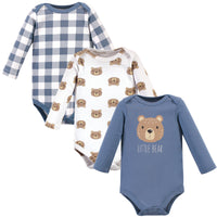 Hudson Baby Cotton Long-Sleeve Bodysuits, Little Bear 3-Pack