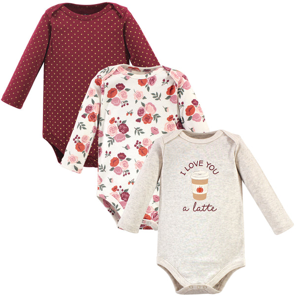 Hudson Baby Cotton Long-Sleeve Bodysuits, Pumpkin Spice 3-Pack