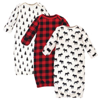 Hudson Baby Quilted Cotton Gowns 3pk, Moose